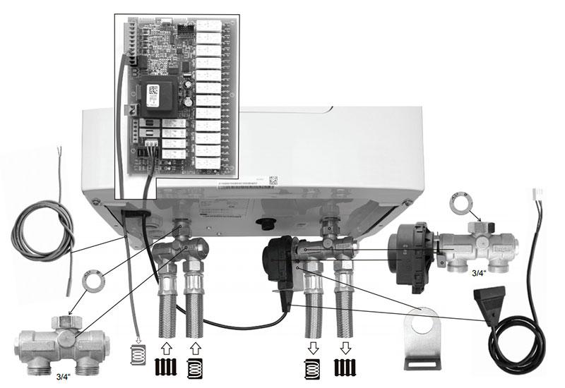 комплект подключения трехходового клапана fugas к котлу скат