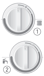 Поворотные переключатели для управления температурой и включения котла