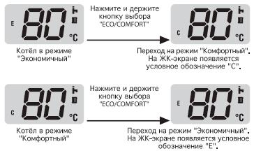 Смена режима работы - комфортный или экономичный